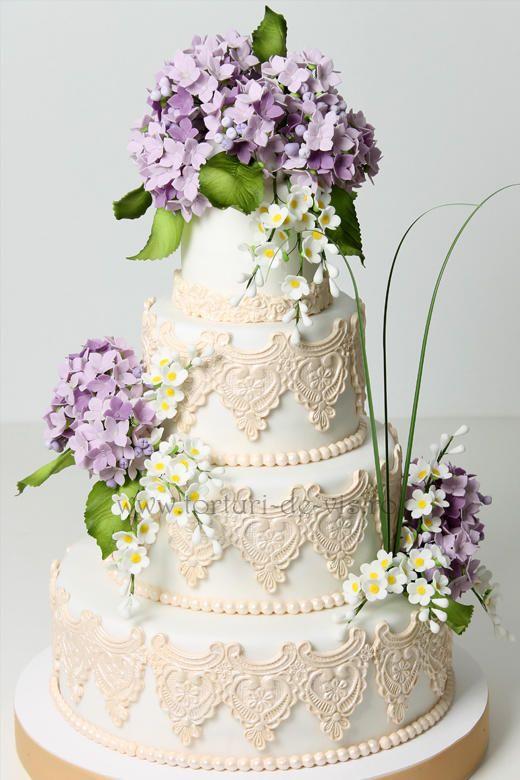 Wedding Cakes - Lace And Hydrangea Wedding Cake #2040070 ...