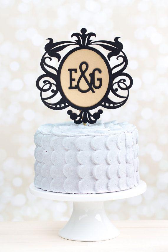 Свадьба - Вензель Свадебный Торт Топпер - Черно-Золотой