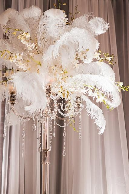Wedding - Feather & Orchid Centerpiece
