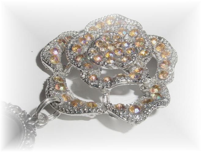 Hochzeit - Photo Brooch Charm Memorial Peach Crystal Gems Silver - FREE SHIPPING