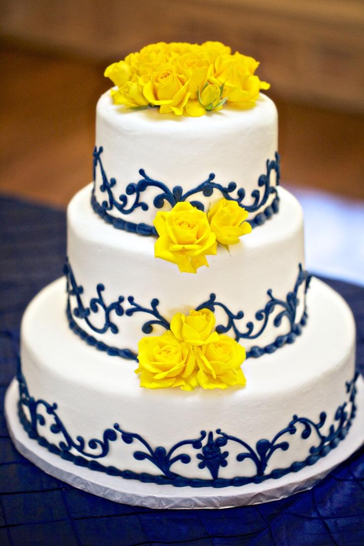 زفاف - Blue and yellow wedding cake!