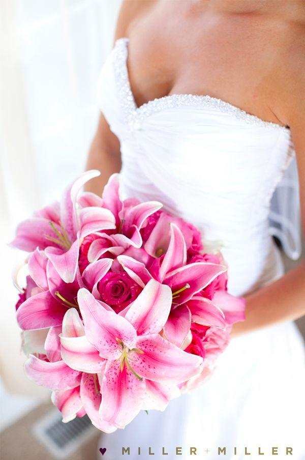Wedding Bouquet - Stargazer Lily And Rose Bouquet #2040853 ...