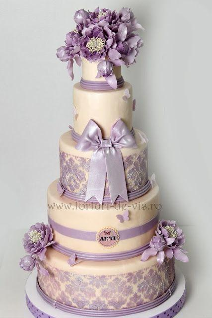Purple Wedding - Ivory & Purple Cake #2040953 - Weddbook