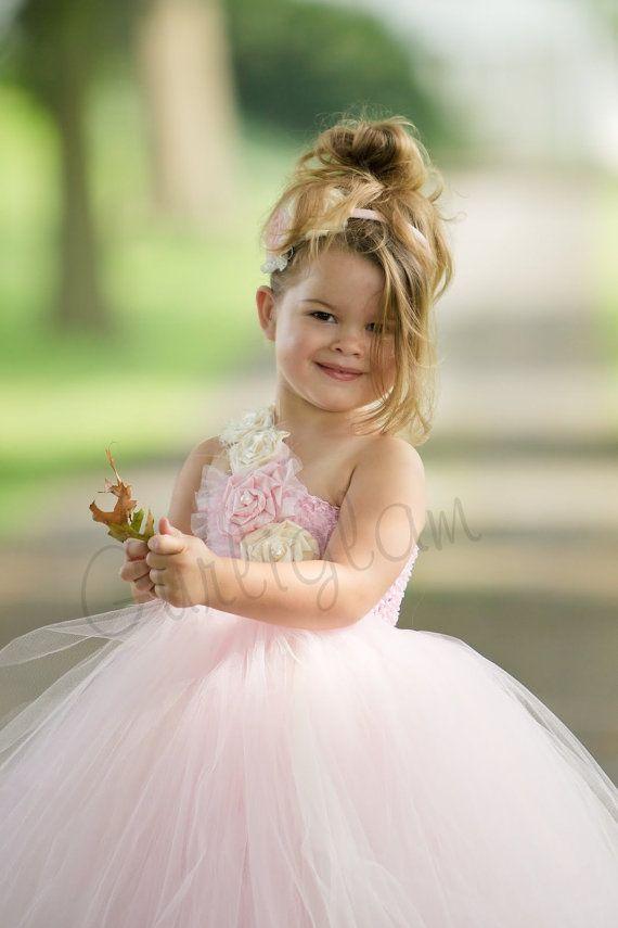 Hellrosa Blumenmädchen Tutu-Kleid, Blumenmädchen Kleid ...