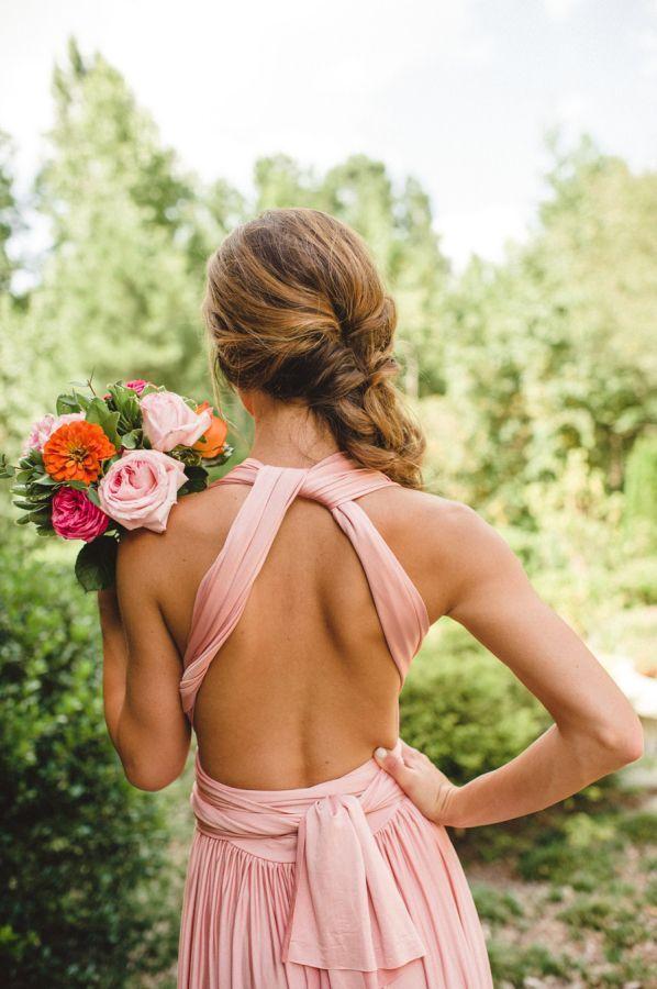 Mariage - Deux roses Oiseaux demoiselles d'honneur robe