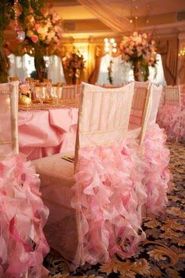 Wedding - Pink Ruffled Chair Decor