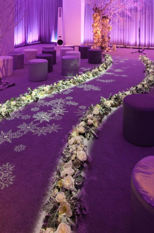 Perimeter Lighting Creates An Icy Glow For This Winter Wedding Venue ...