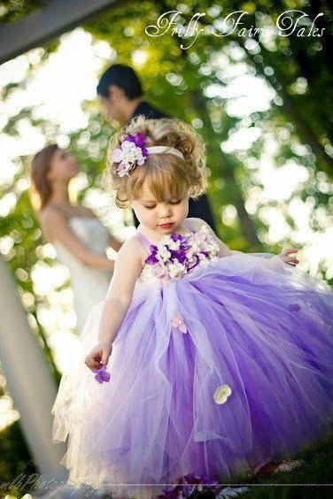 Hochzeit - Lila Blumen-Mädchen-Kleid