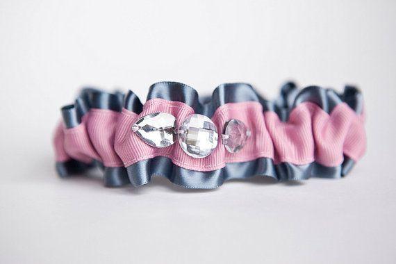 Свадьба - Свадебная Подвязка Set - Оловянные Серый И Розовый Блеск Свадебная Подвязка Set - Образец