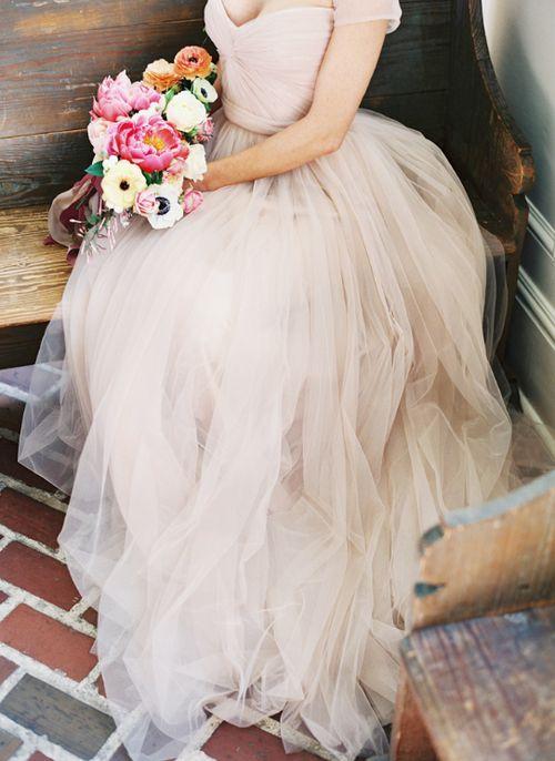 Hochzeit - Blush Tüll Brautkleid