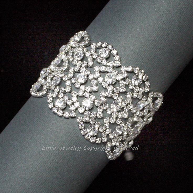 Rhinestone Wedding Bracelet Bridal Cuff Vintage Style Filigree Jewelry