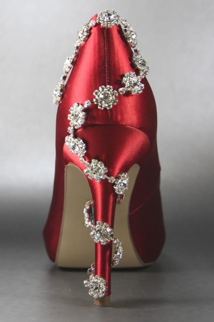 Sandals honeymoon shoes with rhinestone - Shining Red High Heel Wedding Sandal With Crystals