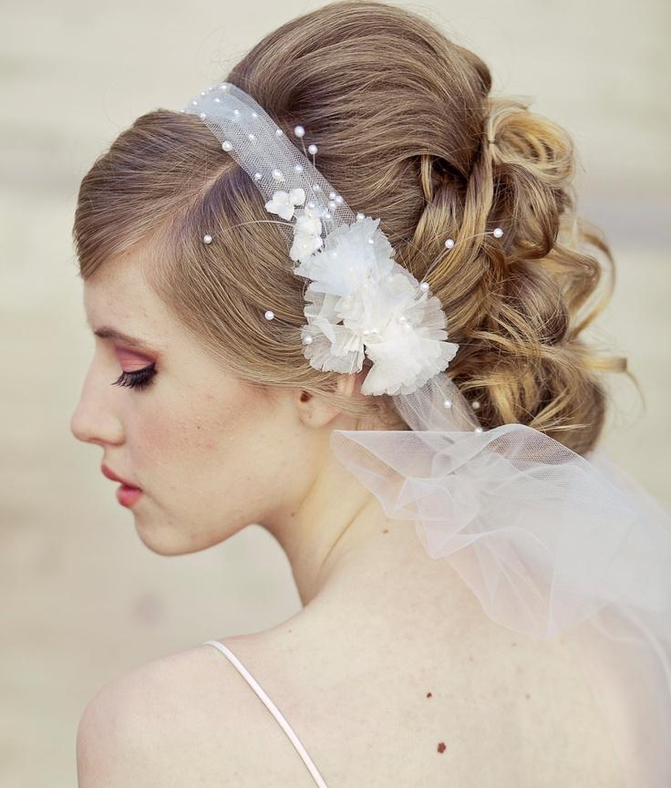 Bridal Flowers In Hair With Veil : Wedding veil tie headband of net and vintage flowers