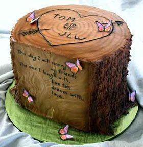 Tree Trunk Wedding Cake With The Names Of Bride And Groom #2046331 ...