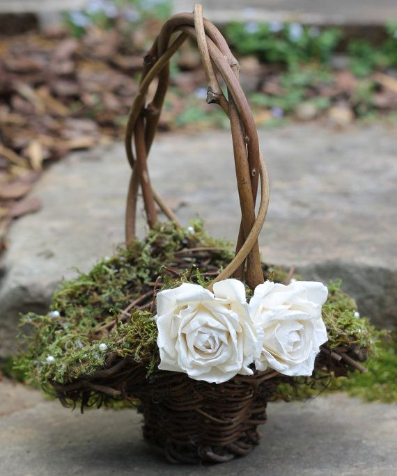 Wedding Flower Girl Basket Lined With Moss And Fresh Water Pearls
