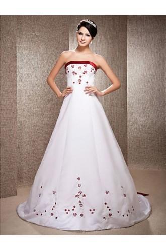 Mariage - A-line Strapless Chapel Train Satin Wedding Dress