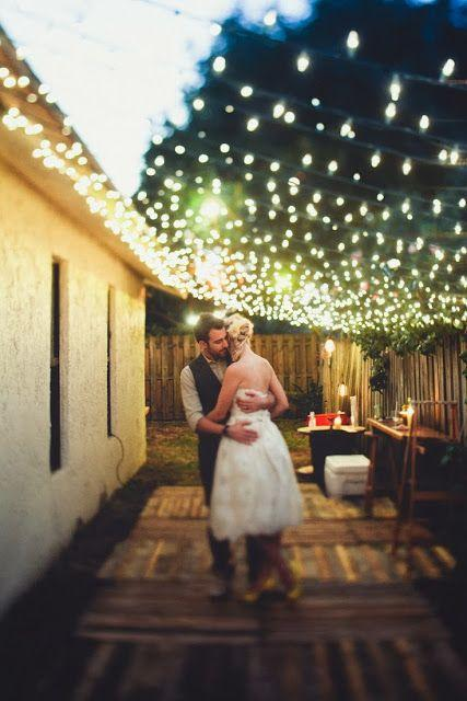 Wedding - Strung Lights Across Open Sky Area