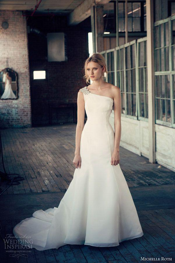 one shoulder strap wedding dress inspiration 2046808