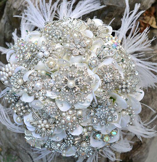 Hochzeit - Kristall Brosche