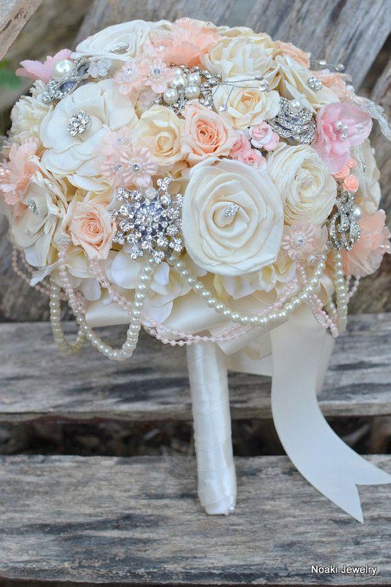 Hochzeit - Peaches And Pearls Holz Und Rose Brosche Bouquet - Made-to-order Hochzeit Brosche Bouquet