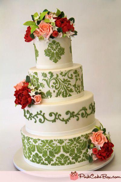 Spring Green Damast Hochzeitstorte Fruhling Hochzeitstorten