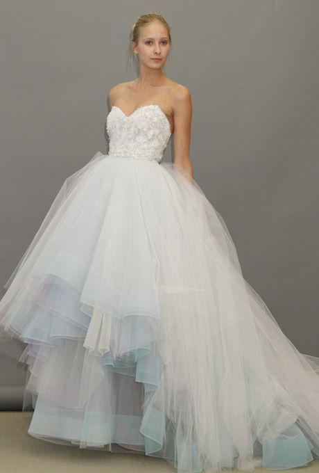 Lazaro Fall 2012 Strapless Blue Ball Gown Wedding Dress With A