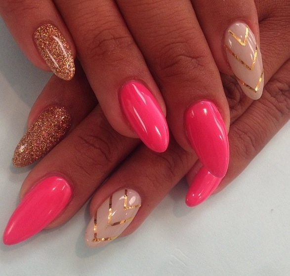 Gold And Pink Stiletto Nail