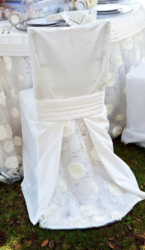 زفاف - Tablescape ● ● كرسي يغطي الأبيض