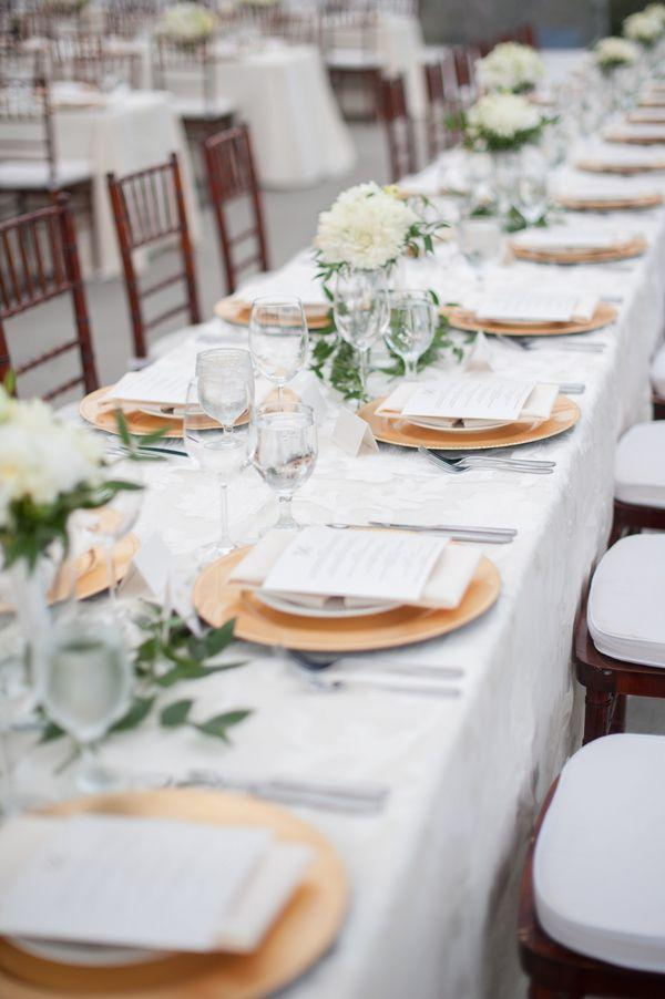 Gold And Cream Reception Table Decor