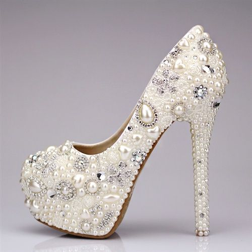 58392b82b2ed Shoe - Crystal Rhinestone Pearl Wedding Shoes  2047494 - Weddbook