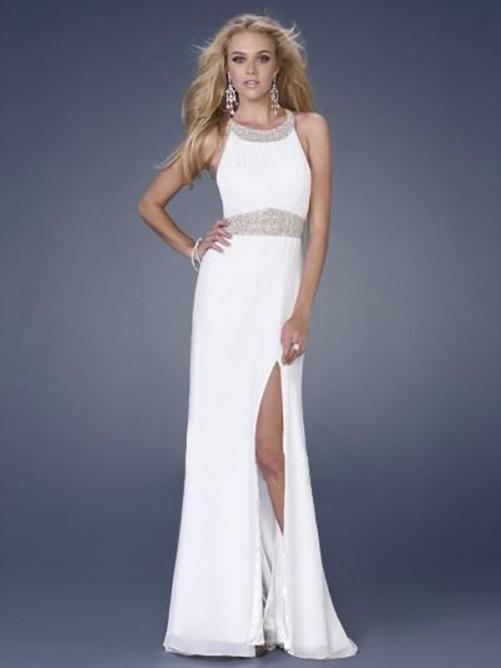 Wedding - Amazing Floor-Length Sheath/Column Halter Chiffon Beading Dresses