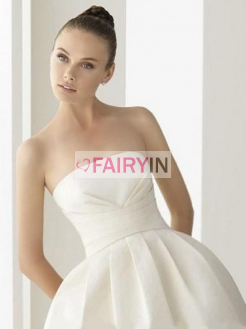 زفاف - Weiß Duchesse-linie Trägerloser Ausschnitt Rüschen Ärmellos Knöchellang Brautkleider für 611,16 € - fairyin.com