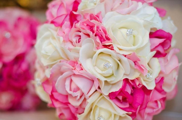 Bridal Bouquets Pink And White : Real touch bridal bouquet hot pink soft and white