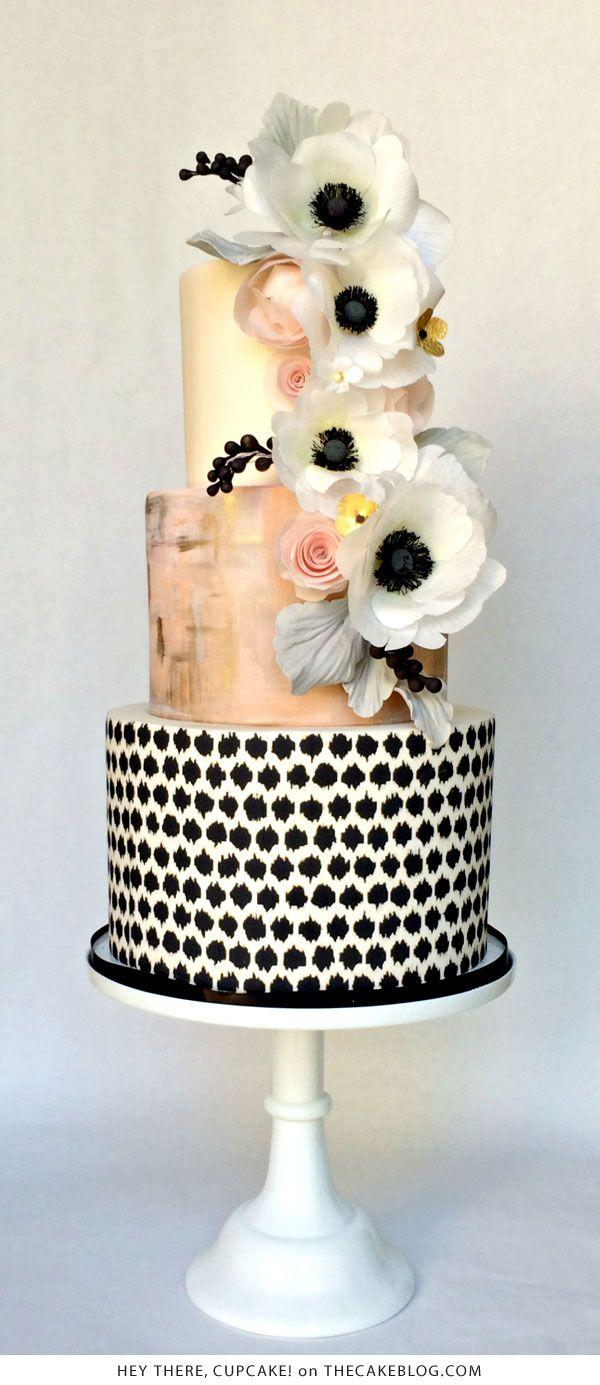 Wedding - Black & White Anemone Cake