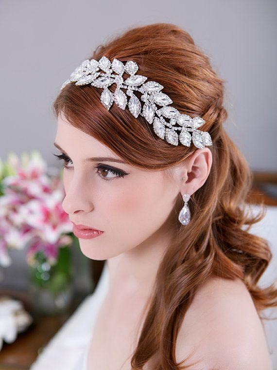 Crystal Leaves Bridal Headpiece, Rhinestone Headband, Crystal Bridal ...