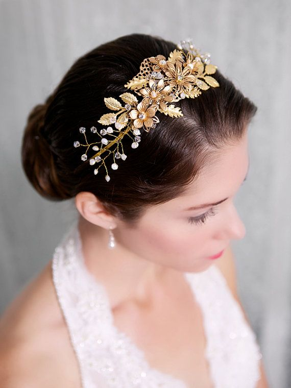 Gold Flower Bridal Headband Pearl Crystal Hair Piece Headpiece Vine Wedding Halo Tiara Accessories STYLE 220