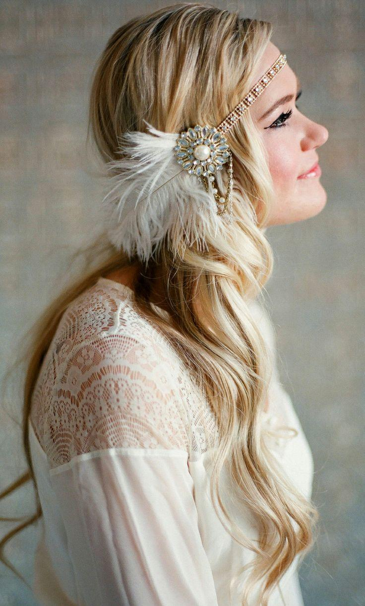 Wedding - Flapper Headpiece, Vintage Inspired, Bridal Hairpiece, The Great Gatsby, 1920's, 1930's, Party, Roaring 20's, Gold, Ivory, Pearl, Feather