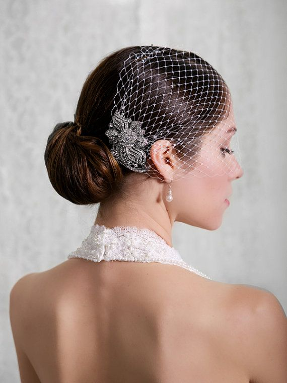 Bridal Veil And Comb Bandeau Birdcage Blusher Bird Cage Ready To Ship Rhinestone Fascinator Detachable