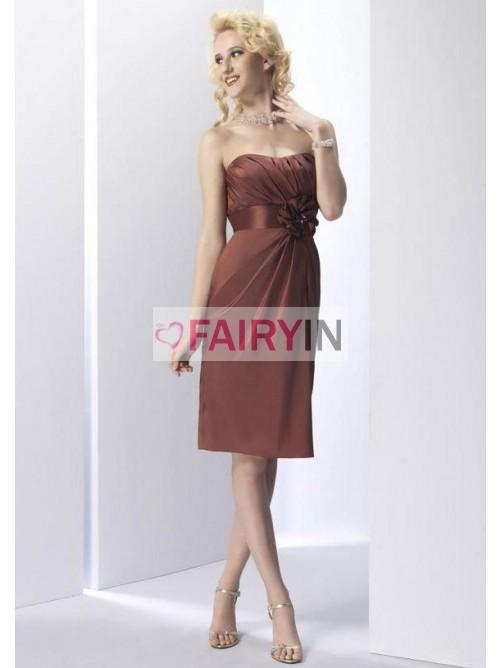 Manches Fourreau Sans De Fleur Bretelles Robes Plis Chocolat RFXqzwX