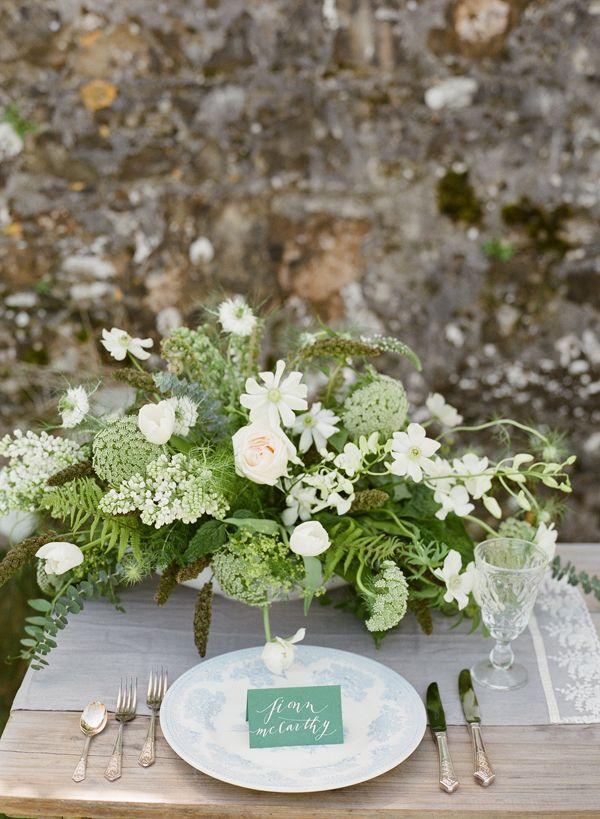 Wedding escort card green and white centerpiece