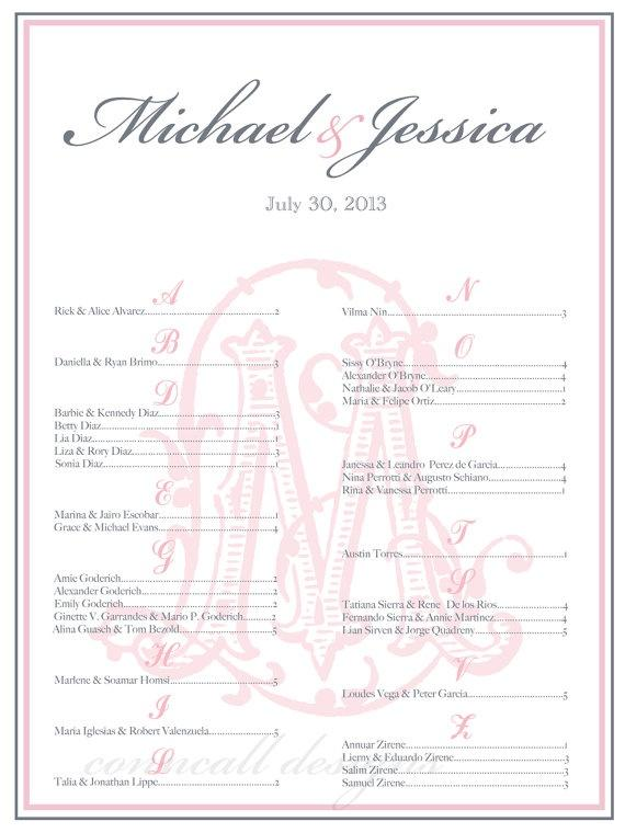 seating charts for weddings receptions