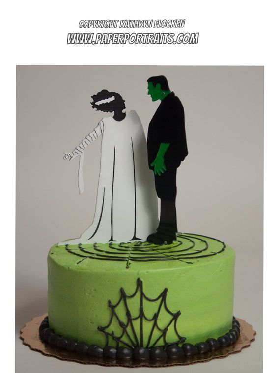 Frankenstein And Bride Of Frankenstein Halloween Or Wedding Cake