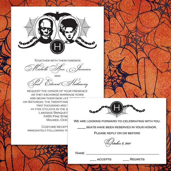 Custom Frankenstein Halloween Wedding Invitations 2048407 Weddbook
