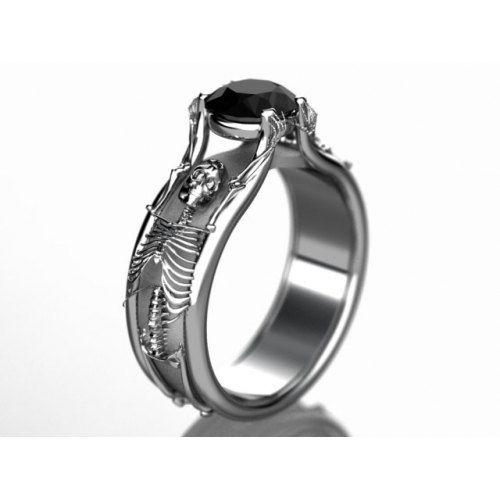 Halloween Skeleton Engagement Ring In White Gold