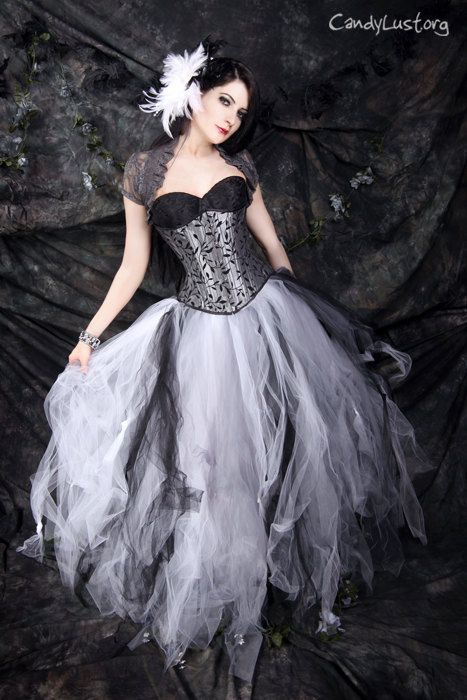 Gothic Bridal Skirt Floor Length Tulle Tutu In Black White And Silver Any Size MTCoffinz