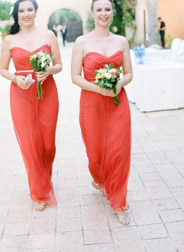 Beach wedding coral and yellow beach wedding 2048505 for Coral bridesmaid dresses for beach wedding