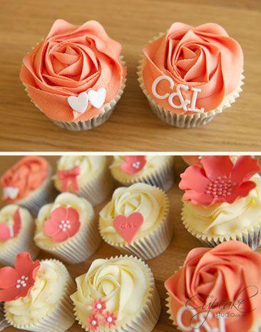 Wedding - Coral Wedding Cupcakes
