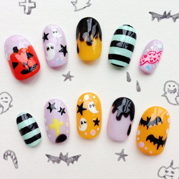 Halloween Nail Tips Japanese Kawaii Nail Art #2048653 - Weddbook