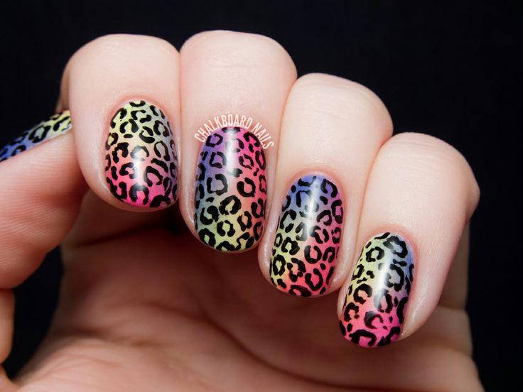 Hochzeit - Tropische Regenbogen-Leopard-Druck - China Glaze Stadt Flourish Nail Art