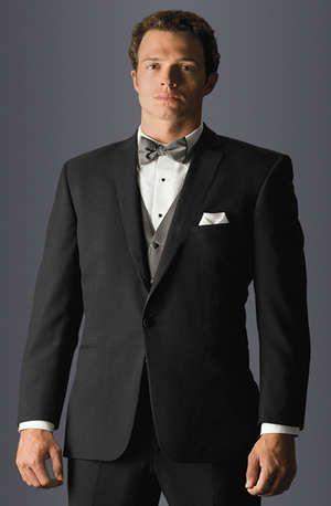 Groomsmen Gifts - Black Suit With Grey Bow Tie And Vest. #2048874